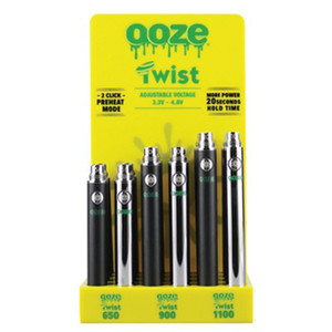 OOZE Twist Battery E-Cigarette 650 900 1100mAh Vape Pen Battery Suit 24 Pieces Batteries per Dozen For Thick Oil Cartridges