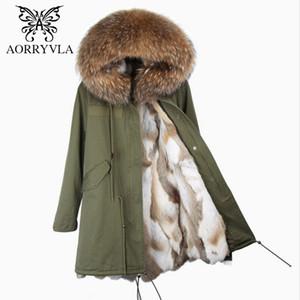 Long Coat Astar ile AORRYVLA 2017 Yeni Kış Kadın Gerçek Kürk Parkas Büyük Rakun Kürk Yaka Kapşonlu