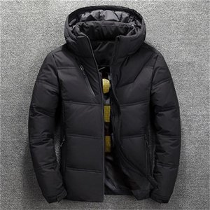 Designer Plus Size Solid Color Thick Lapel Neck Hooded Coats Casual Warm Men Down Jackets Winter Down Mens