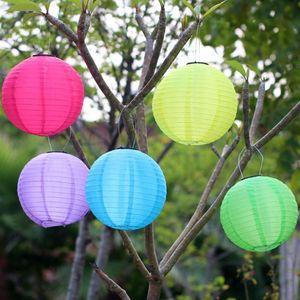 12 inch Solar Lantern LED Light Chinese Paper Lights ball Round Paper Lanterns Hanging Wedding Birthday Party Holiday Decoration