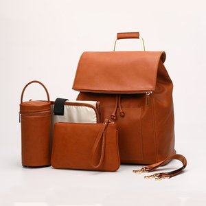Waterproof Diaper Bag for Mommy Maternal PU Leather Nappy Backpack Baby Infant Organizer Changing Nursing Mom Pram Bag to Care 201022