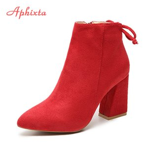 Aphixta Women Classics Ankle Boots Kid Suede Soft Shoes TPR Anti-Skid Women Boots High Heels Zipper Causal Ladies Footwear 201021