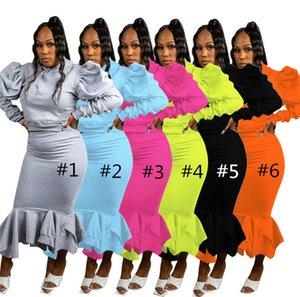 Kadın Sonbahar Kış Eşofman Uzun Kollu Kazak Hoodies + Elbise Tow-Parçalı Suit Giyim Katı Renk Sporları Günlük Kıyafetler 2021 LY12192