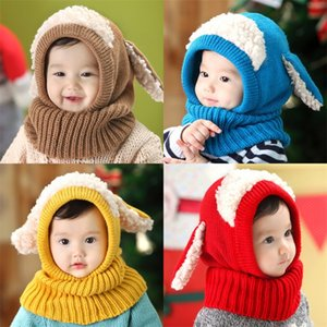 Осень зима детская крышка смешивание многоцветные милые собаки дизайн ухо дизайн малыша шапки утолщение против холодного проживания теплые младенцы шляпа 12hx l2