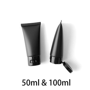 50ml 100ml Matte Black Squeeze Bottle Empty Cosmetic Container Makeup Cream Body Lotion Travel Packaging Plastic Soft Tubes