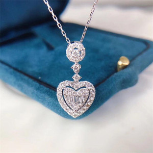 New Arrival Sweet Cute High Quality Luxury Jewelry 925 Sterling Silver Princess Cut White Topaz CZ Diamond Heart Pendant Women Necklace Gift