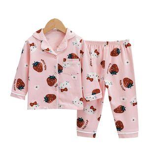 Children's Strawberry Printed Pajamas For Girls Cotton Nightwear Sets Kids Pijama Long Sleeve Pyjamas Child Sleepwear