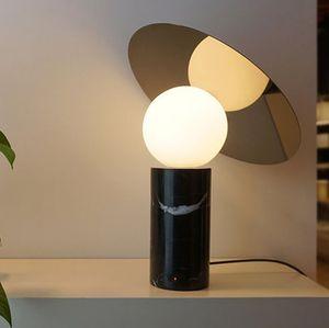 Современный мраморный настольный светильник светодиодный настольный лампа настольный светильник стеклянный оттенок мраморный базой новейший дизайн дизайнерское освещение