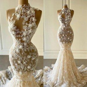 2021 Illusion Mermaid Wedding Dresses Sleeveless High Neck Lace Appliqued Bridal Gowns Plus Size Vestidos de novia Elegant Wedding Dress