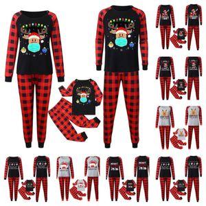 Buffalo Plaid Christmas Outfits Pajamas Set Family Matching 2020 2021 Mask Reindeer Santa Claus Blouse and Pants Home Night Clothes E110301