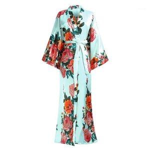 Satin Long Sleewwurs для женской ночной рубашки V-образным вырезом Кимоно Халат для халата для халата Цветок Цветок Халат халат большого размера 3XL 4XL 5XL 6xL1