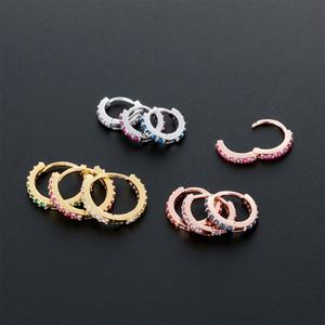 Punk CZ Ear Piercing Cuff Nose Hoop Ring Tragus Helix Cartilage Daith Piercing Round Zircon Ear Buckle Women Jewelry New Fashion