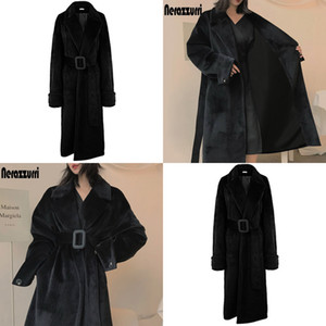 Oversized Brasão Nerazzurri Preto Faux Inverno Belt manga comprida Quente Furry casacos de pele por Mulheres Plus Size Moda 7XL TMMR