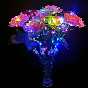 Simulation Luminous Rose Flowers Creative Valentines Day Gift LED Lighted Romantic Rose Gift Colorful Party Favors VTKY2318