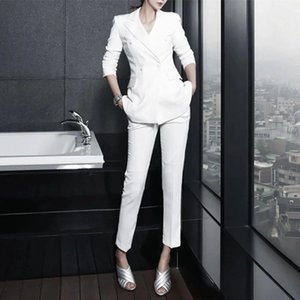 spring female suit ms han edition suit jacket long sleeve fashion Asymmetric nine minutes of pants two-piece set outfit