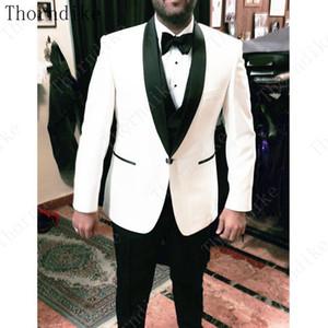 Thorndike Ivory Wedding Groom Men Suit Black Shawl Lapel Mens Suits 3 Pieces Tailored Man Terno Masculino (Jacket+Vest+Pants)