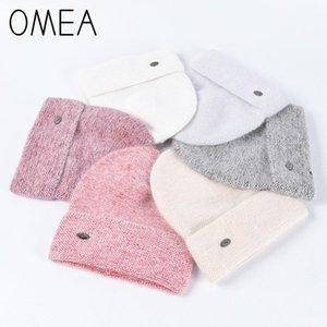 OMEA 2020 New Angora Fur Hat femmes Cap Skis en cachemire tricoté Bonnet d'hiver Bonnet hommes cadeau de Noël Fille Coton Chapeau rose