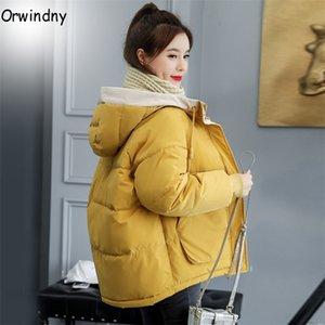 Cotone Donne Orwindny Moda inverno imbottito Parka con cappuccio Outwear 7 colori del rivestimento femminile Solid Cappotto Y201012