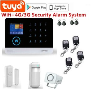 4G gsm and wireless wifi alarm system TFT display door sensor home security alarm systems Wired Siren Kit SIM SMS1
