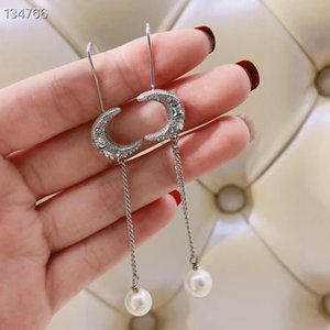 2020 NEW Copper With White Gold Plated Long Chain Moon Shape Pearl Dangle Earrings For Women Jewelry