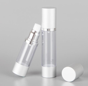 30ML Refillable Airless Lotion Pump Bottle With Silver Aluminum Over Cap airless cosmetic cream pump containers LX1095
