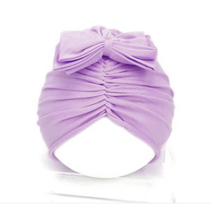 Infant solid color india style turban Baby plicated bow hat Girls knot sleeve hat accessory