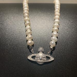 925 Silber Französisch Stil Halskette Frauen Saturn Pearl Elegant Punk Klassische Süßwasser Pearl Choker 1020