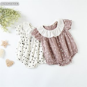 Romper Summer Newborn Jumpsuit Ruffle Infant Girls Sunsuit Cotton Baby Girl Clothes 201027