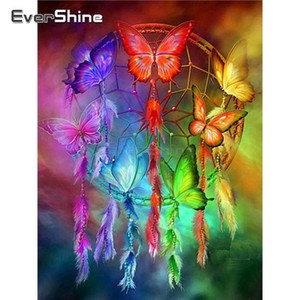 EverShine DIY 5D Diamond Painting Dreamcatcher Picture Of Rhinestones Diamond Embroidery Butterfly Cross Stitch Mosaic
