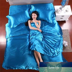 الجملة الجملة صحائف الحرير الصين الحرير المفارش سرير 4PCS الكتان القطن الأزرق غطاء لحاف الحرير مجموعات ملاءات المخدة