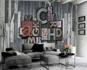 3D Wallpaper Vintage Einfache und Retro Hölzerner Brief 3D Wallpaper Europäischen Stil Klassische 3D-Tapete
