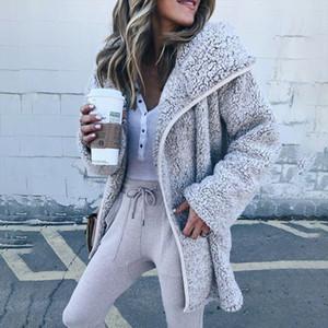 Plus Size Cardigans Plush Cashmere Coats Women Fashion Long Sleeve Turn Down Collar Pocket Long Woolen Fleece Coats Casaca Mujer