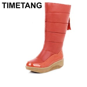 TIMETANG Snow Boots Women Shoes Platform High Quality Tassel Footwear Cotton Warm Plush Mid Calf Winter Boots Size 35-44 E164