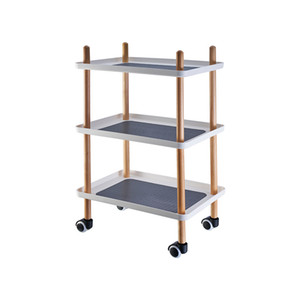 Simple Shelf Push Home Living Room Coffee Table Bedroom Kitchen Non-slip Multifunctional Wooden Cart Square Three-layer