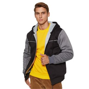 Man Colorblocked Outdoor Jackets Fashion Trend Fleece Thicken Long Sleeve Zipper Hooded Coats Designer Male Winter Cardigan Casual Outerwear