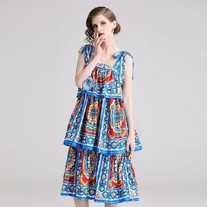 Runway Summer Dress Women Bow Spaghetti Strap Ruffles Backless Flower Print Long Midi Dress Vintage Bohemian Party A778