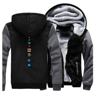Nine Planets Pattern Male Hoodies Winter Thicken Brand Clothing New Style Warm Coats Novelty Universe Solar System Printing Men X1022