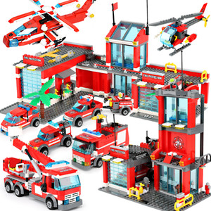 1123pcs Fire Station Classic Model Blocks City Construction Building Block Technic Bricks Educational Toys For Children Gift C1114