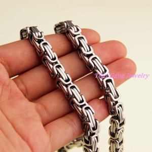 """7-40"""" Huge Heavy Top Design 316L Stainless Steel Silver Color Byzantine Chain Mens Necklace Bracelet 7MM Width"""