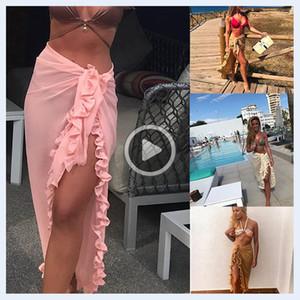R19Q Women Bikini Er Up Summer Chiffon Ruffle Beach Faldas Ladies Afección Sunatario SHLS SHLS Trajes de baño Er-Ups 050416