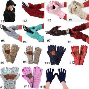 15 cores CC luvas de malha da mulher do homem Sólido Inverno Quente luvas portátil esportes ao ar livre Cinco Dedos luvas do toque de tela
