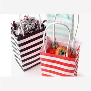 Stripe Bow Kraft Paper Bolsa Mini Presentes Embalagem sacos Doces Snack Envoltório Bolsas Nova Chegada Moda 0 74HB F2