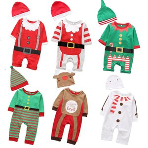 New Christmas clothes baby rompers Boy Girl Kids Romper Hat Cap Set santa claus baby costume Christmas Gift newborn 201027