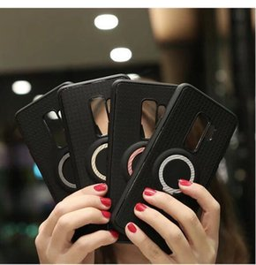 For iPhone 6 6s 6P 6sP 7 7P 8 8P X Ring Magnetic Three-in-one Mobile Phone Shell Carbon Fiber Car TPU Bracket Protective Case