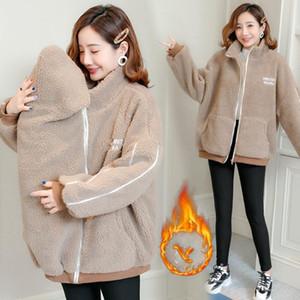Fashion Autumn Winter Camo Fleece Maternity Coats Baby Carrier Jacket Clothes For Pregnant Women Korean Fashion Pregnnancy Scarf