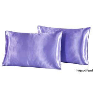 2PC Cotton Pillow Case Black White Solid Color Satin Imitated Silk Pillow Cover One Pair US Twin Queen King Pillowcase 25% OFF
