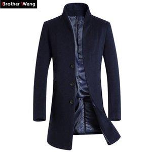 Brother Wang Brand 2021 Новые Мужчины Тонкий Длинный раздел Шерстяная траншея Пальто Мода Повседневная Бизнес Сплошной Цвет Ветровщик Куртка Мужчин