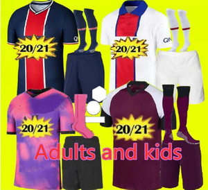 Neues 2020 2021 Kit für Erwachsene und Kinder PSG Jersey 2020 2021 mbappe VERRATTI CAVANI DI MARIA MAILLOT DE FOOT Kinder Paris Fußballtrikot für Kinder
