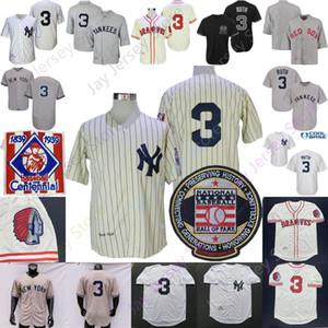 Бейб Рут Джерси 1929 Зал славы 1939 Baseball Centennial сотых крем Pinstrpe Белый Серый Home Away Мужчины Размер M-3XL