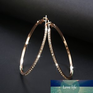 Top Popular Earrings With Rhinestone Circle Earrings Simple Earrings Big Circle Gold Color Hoop For Women